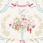 Bomullstyg liten fågel natur (Tilda Old Rose)