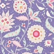 Bomullstyg med blomrankor blått (Tilda Bon Voyage)