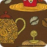 Bomullstyg kaffeservis brun (Robert Kaufman)