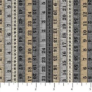 Bomullstyg måttband svart-beige-grå (Northcott)