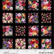 Bomullstyg Panel Svart med blommor (Ayana)