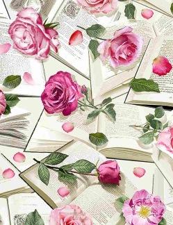 Bomullstyg Rosor och Böcker (Roses with Books)