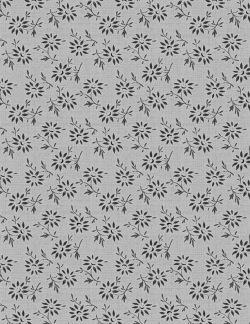 Bomullstyg grått - svart blomma (Blackwood Cottage)