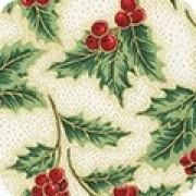 Bomullstyg järnek och röda bär (Holiday Flourish)