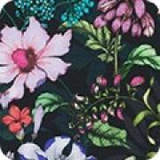 Bomullstyg svart / blommönster (Topia)