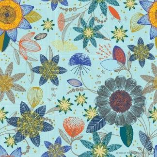 Bomullstyg turkos blommor (Patio Burst)