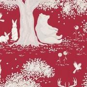 Bomullstyg Tilda rött landskap (Woodland Carmine)