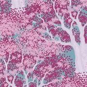 Bomullstyg Tilda träd och blommor lila (Woodland Juniper Plum)