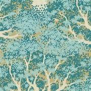 Bomullstyg Tilda turkos lansdskap (Woodland Juniper Teal)