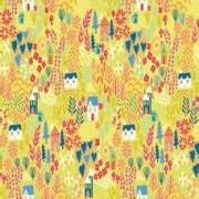 FYND! Bomullstyg gul trädgård (Kitty Garden)