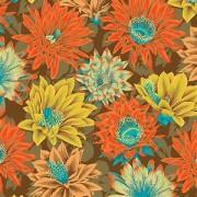 Bomullstyg gula-bruna blommor (Cactus Flower)