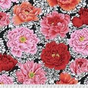 Bomullstyg röda blommor (Brocade Peony)