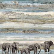 Bomullstyg elefanter på stranden (New Dawn)