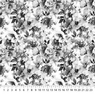 Bomullstyg grå-vita blommor (Windsong)