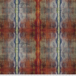 Bomullstyg röd-brun text (Dyed Stripe)