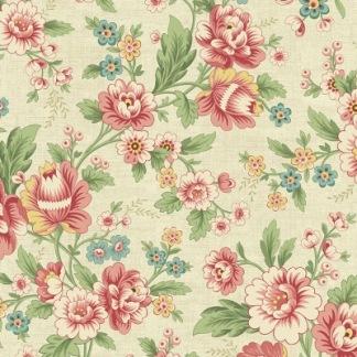 Bomullstyg Rosa blommor (Edyta Sitar)