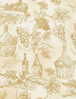 Bomullstyg beige vinmotiv (Wine Country)