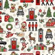 Bomullstyg London Christmas