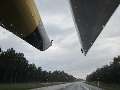Regnig och blåsig morgon på väg till Grötvik