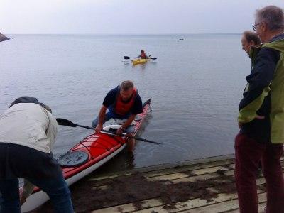 Percy på väg ut i havet