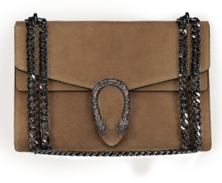 SUEDE SNAKE BAG - BROWN