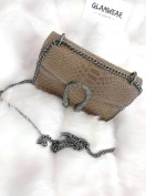 LEATHER SNAKE BAG SMALL BEIGE