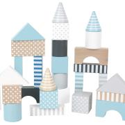 Byggklossar i blått med olika former
