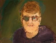 Självporträtt. Akryl på kartong med palettkniv.