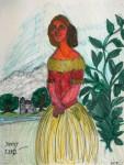 Porträtt av Jenny Lind. Blyerts, tuschpenna.