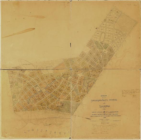 Första officiella kartan över den antagna stadsplanen för gruvsamhället Kiruna. Foto: Kiruna kommun bildsamling.