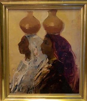 Damer med krukor på huvudet (Hilding Rösiö) -