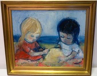 Barn bygger sandslott (Alf Forslund) - Barn bygger sandslott