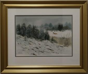 räv på jakt i vinterlandskap (Kenneth Lindgren) - Räv på jakt i vinterlandskap