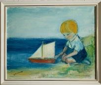 Pojken med segelbåt vid vattnet (Alf Forslund)