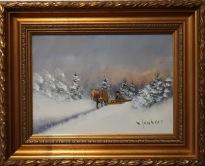 Häst och vagn i vinterlandskap (Väinö Juntara)