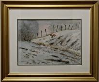 Räv på språng i vinterbacke (Kenneth Lindgren)