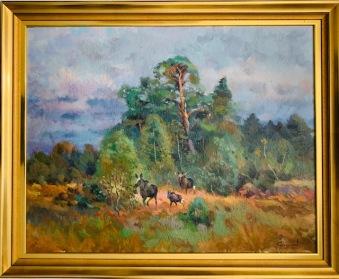 Älgfamilj i skogsbrynet (Harald Grennard) - Älgfamilj i skogsbrynet