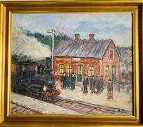 Folkliv på järnvägs perongen (Bror Jönsson)