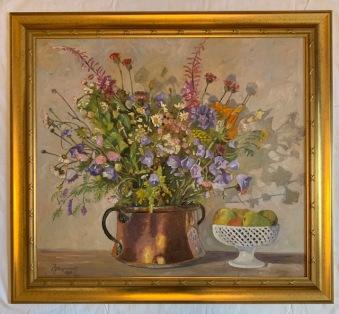 Blomsterbukett i kopparbunke med skål (Karl-Johan Magnusson) -