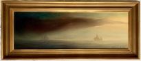 Skepp som mötas i skymningen i Nordsjön