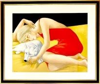 Kvinna i röd klänning