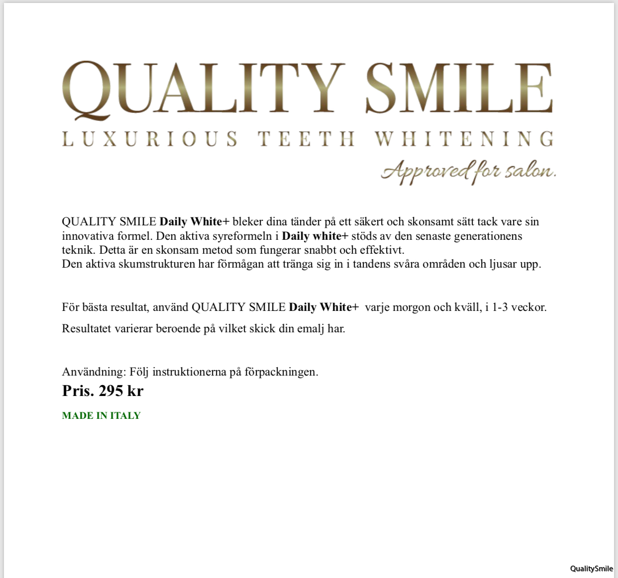 info+pris.QS tandkräm. ITALY