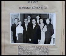 Hembygdskören fyller 15 år 1957