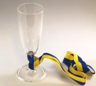 Glas med blå/gult band
