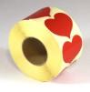 Etikett hjärta - Hjärta röd 4,8x4cm 1000/fp