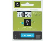 Tape DYMO D1 12mm svart på vit