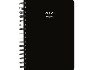 Dagbok svart spiralbunden 2021