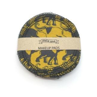 Make up pads 8 st - Senapsgul med elefanter
