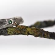 Silverring natur, chokladdiamant, turmalin