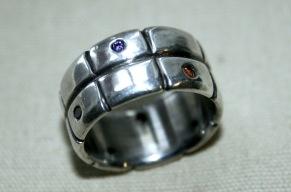 Silverring med zikon - Silverring zikonstenar
